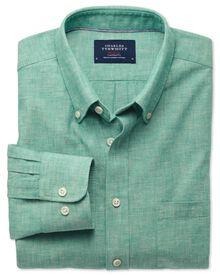 Slim fit green chambray shirt