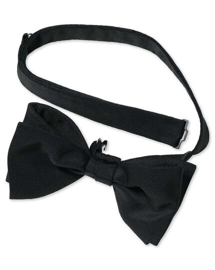 Black silk barathea ready-tied bow tie