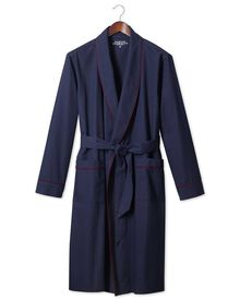 Navy brushed cotton robe