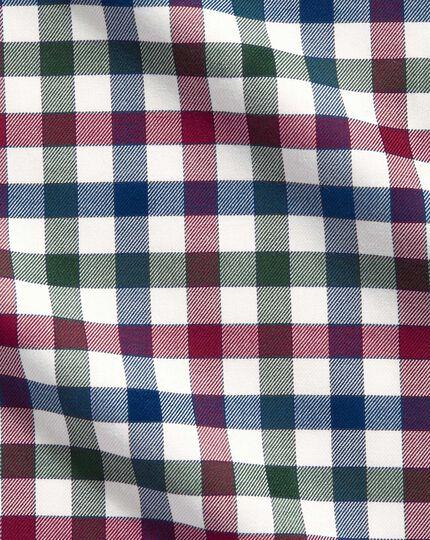 Extra Slim Fit Hemd in Marineblau und Beerenrot mit Country-Karo