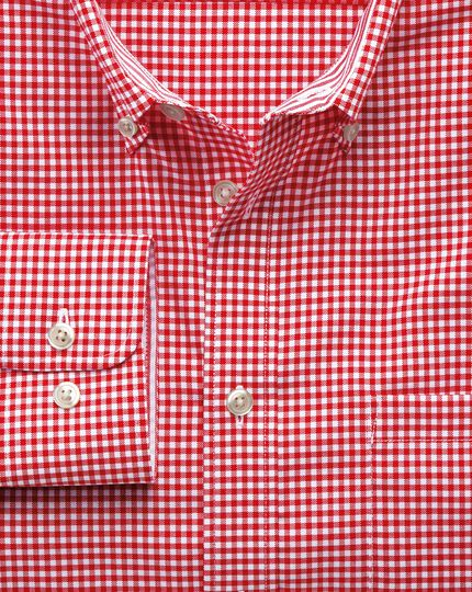 Slim fit non-iron Oxford gingham red shirt
