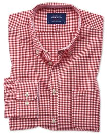 Extra slim fit non-iron Oxford gingham red shirt