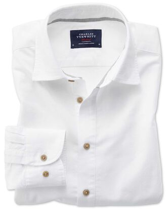 Classic fit popover off-white shirt