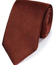 Rust silk plain classic tie