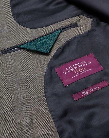 Slim Fit Luxus Anzug Sakko aus italienischem Sharkskin in Silber
