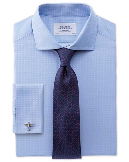 Navy and pink silk Oxford paisley classic tie