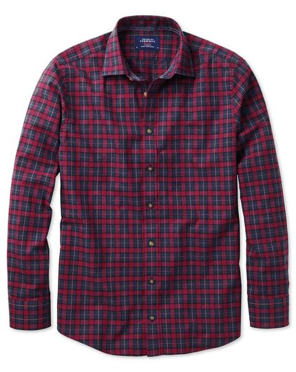Slim fit heather tartan burgundy and navy blue check shirt
