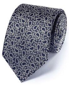 Navy silk classic paisley tie