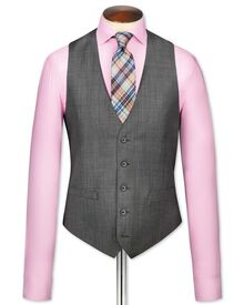 Grey birdseye travel suit vest