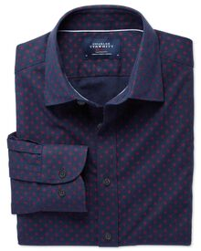 Extra slim fit spot print navy and red shirt