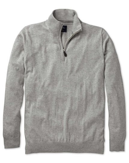 Light grey cotton cashmere zip neck sweater