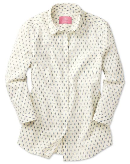 Women's semi-fitted cotton floral print natural tab sleeve shirt