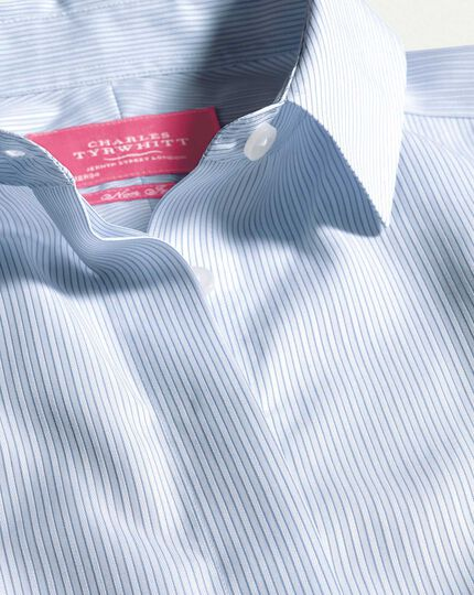 Women's semi-fitted non-iron sky blue striped shirt