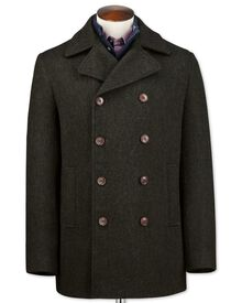 Dark green wool pea coat