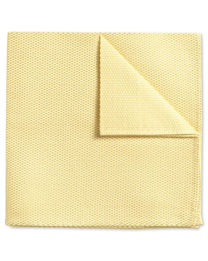 Light yellow plain classic pocket square