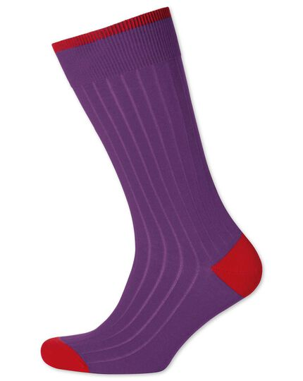 Purple ribbed cotton rich socks