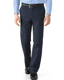 Mid blue classic fit cotton flannel trouser