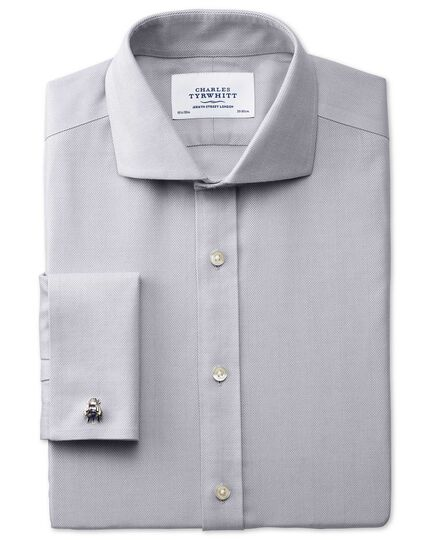 Extra slim fit cutaway collar non-iron herringbone grey shirt