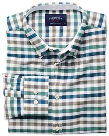 Extra slim fit green and blue check washed Oxford shirt