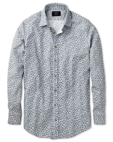 Slim fit sky blue leaf print shirt