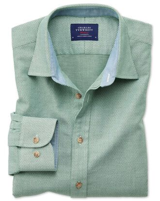 Slim fit washed textured mid green shirt