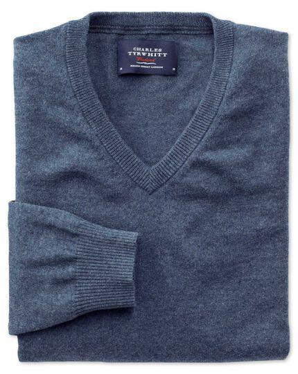 Blue cotton cashmere v-neck jumper