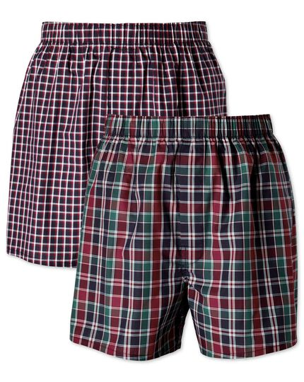 Navy check 2 pack boxer shorts