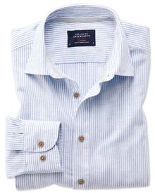 Slim fit popover mid blue stripe shirt
