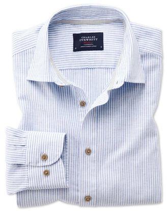 Slim fit popover mid blue stripe shirt