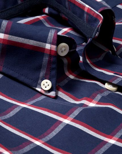 Slim fit navy and red check washed shirt