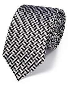 Black and white silk puppytooth classic tie