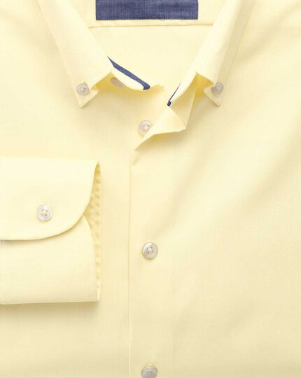 Slim fit button-down collar non-iron business casual yellow shirt