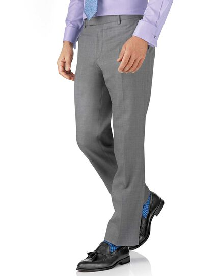 Silver classic fit British Panama luxury suit trouser
