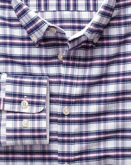 Extra slim fit navy and pink check washed Oxford shirt