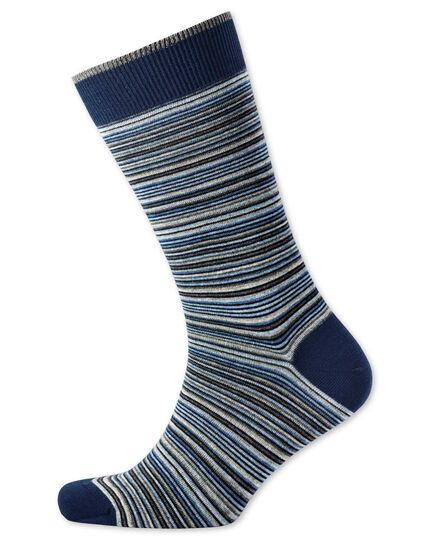 Grey and blue multi fine stripe socks