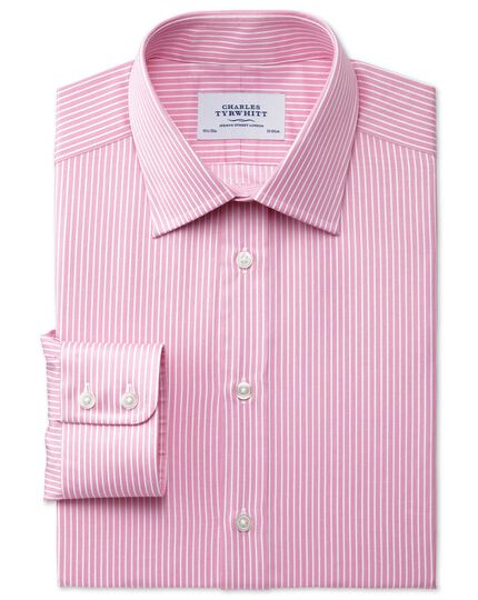 Classic fit Egyptian cotton stripe pink shirt