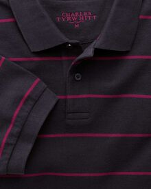 Navy and berry stripe pique polo