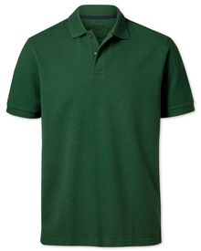 Classic fit pine green pique polo