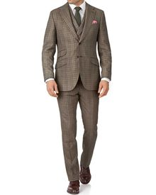 Tan check slim fit British flannel luxury suit