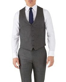 Silver adjustable fit flannel business suit waistcoat