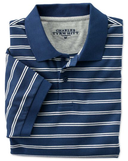 Classic fit blue and white striped pique polo