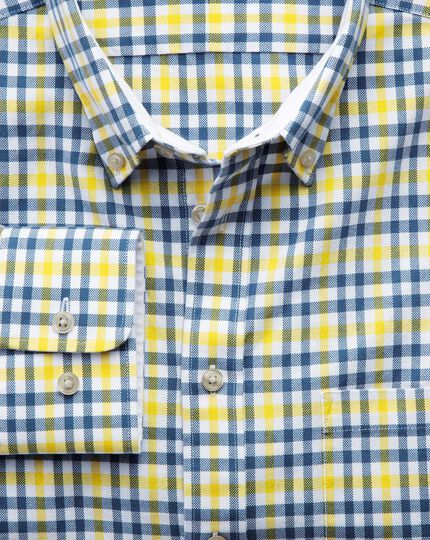 Classic fit blue and yellow check washed Oxford shirt