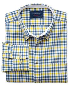 Slim fit blue and yellow check washed Oxford shirt