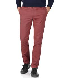 Light red extra slim fit flat front chinos