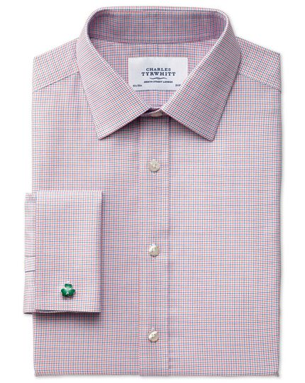 Slim fit non-iron textured red check shirt