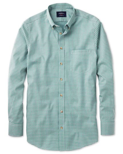 Classic fit non-iron poplin green and navy check shirt