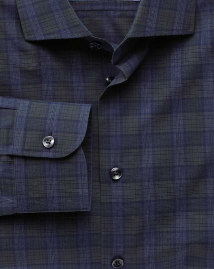 Classic fit semi-spread collar business casual melange navy and green check shirt