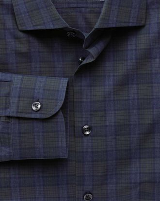 Extra slim fit semi-cutaway collar business casual melange navy and green check shirt