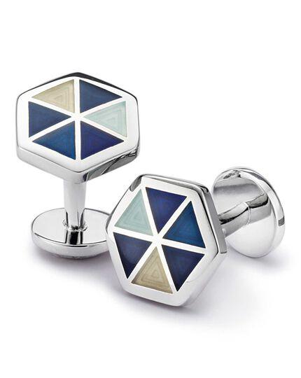 Blue hexagon enamel cuff links