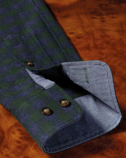 Classic fit button-down soft cotton green and blue check shirt